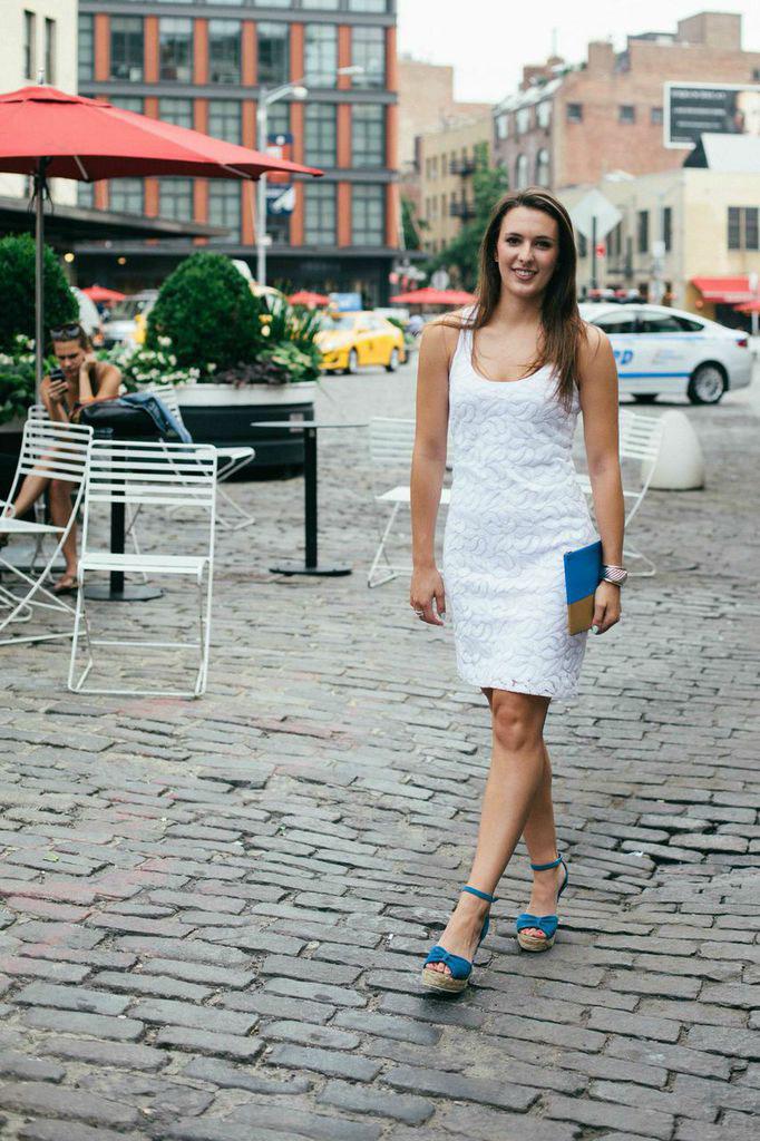 White Dress and Celine Clutch
