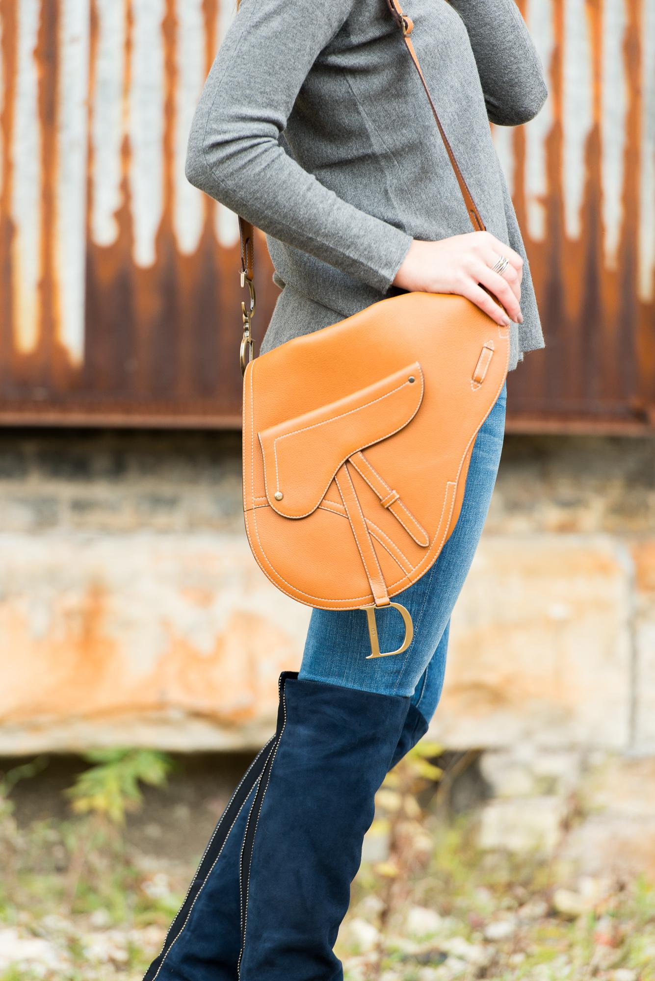 Bonjour Blue- Dior Saddle Bag, Navy Blue Boots, Grey Sweater