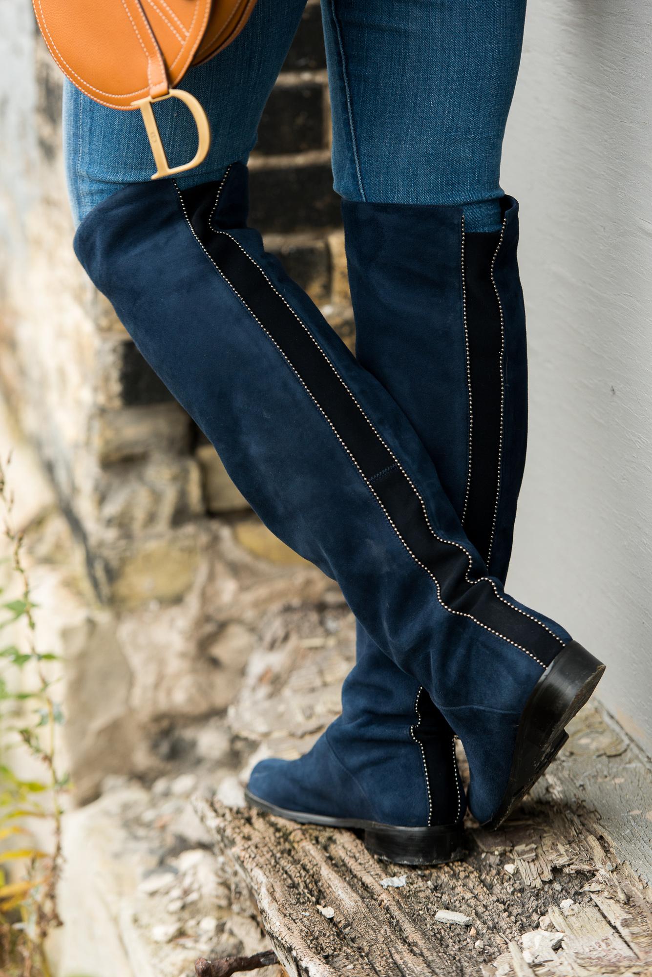 BonjourBlue- Navy Stuart Weitzman Boots