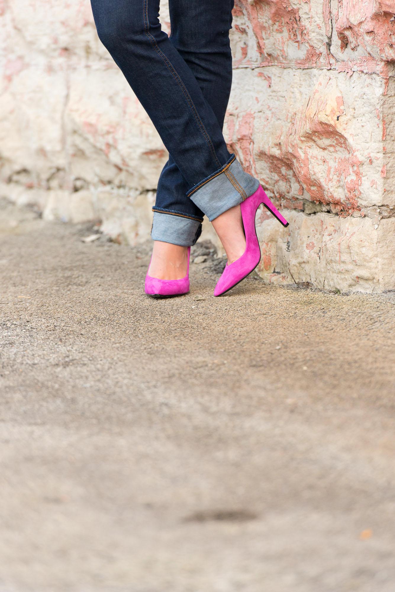 BonjourBlue-Pink Pumps