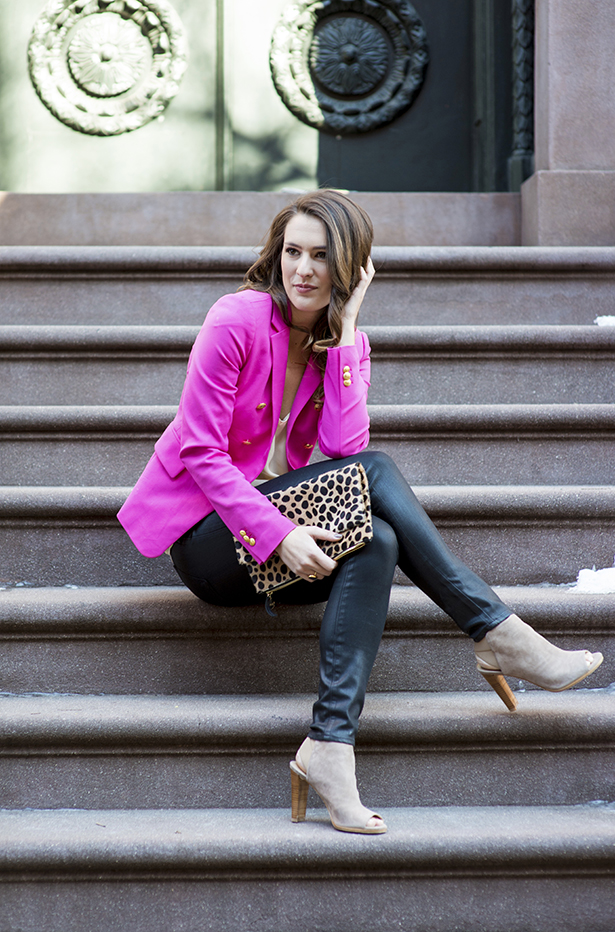 Pink Blazer and Leopard Clutch