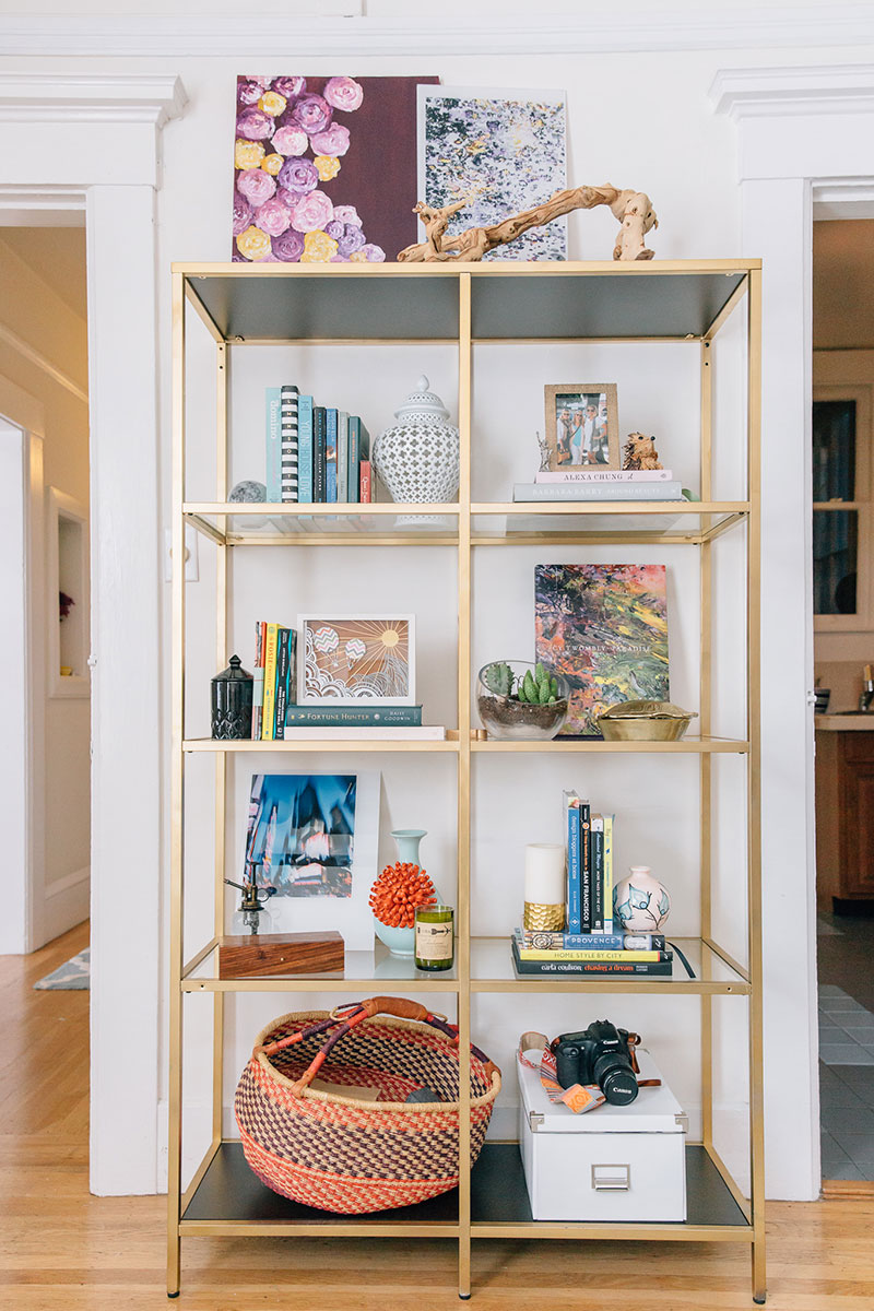 Living Room With Bookshelf: San Francisco Home Tour