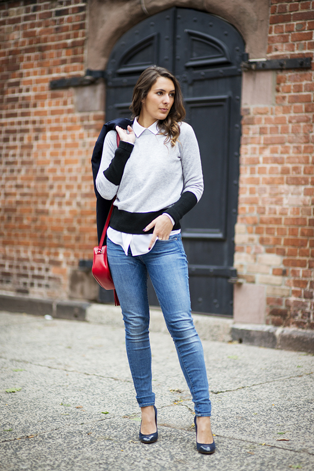 denim and colorblock sweater