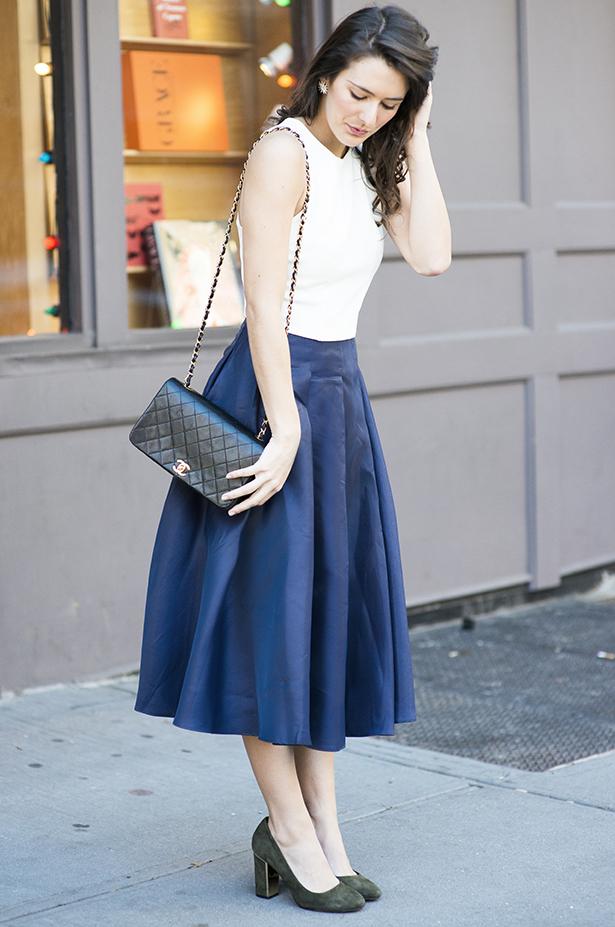 Blue Midi Skirt - Bonjour Blue