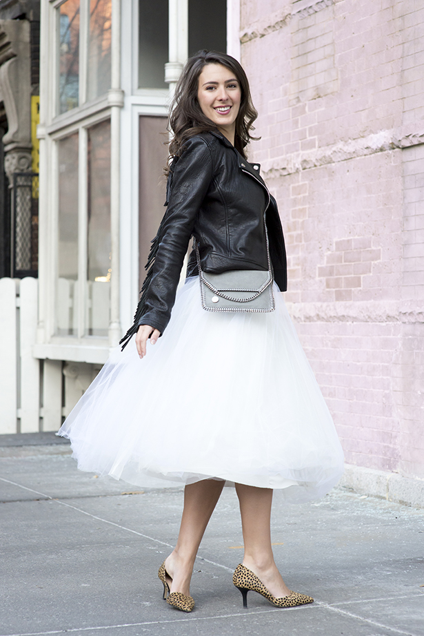leather jacket and tulle skirt
