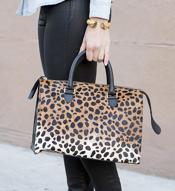 leopard clare v bag and julie vos bracelet
