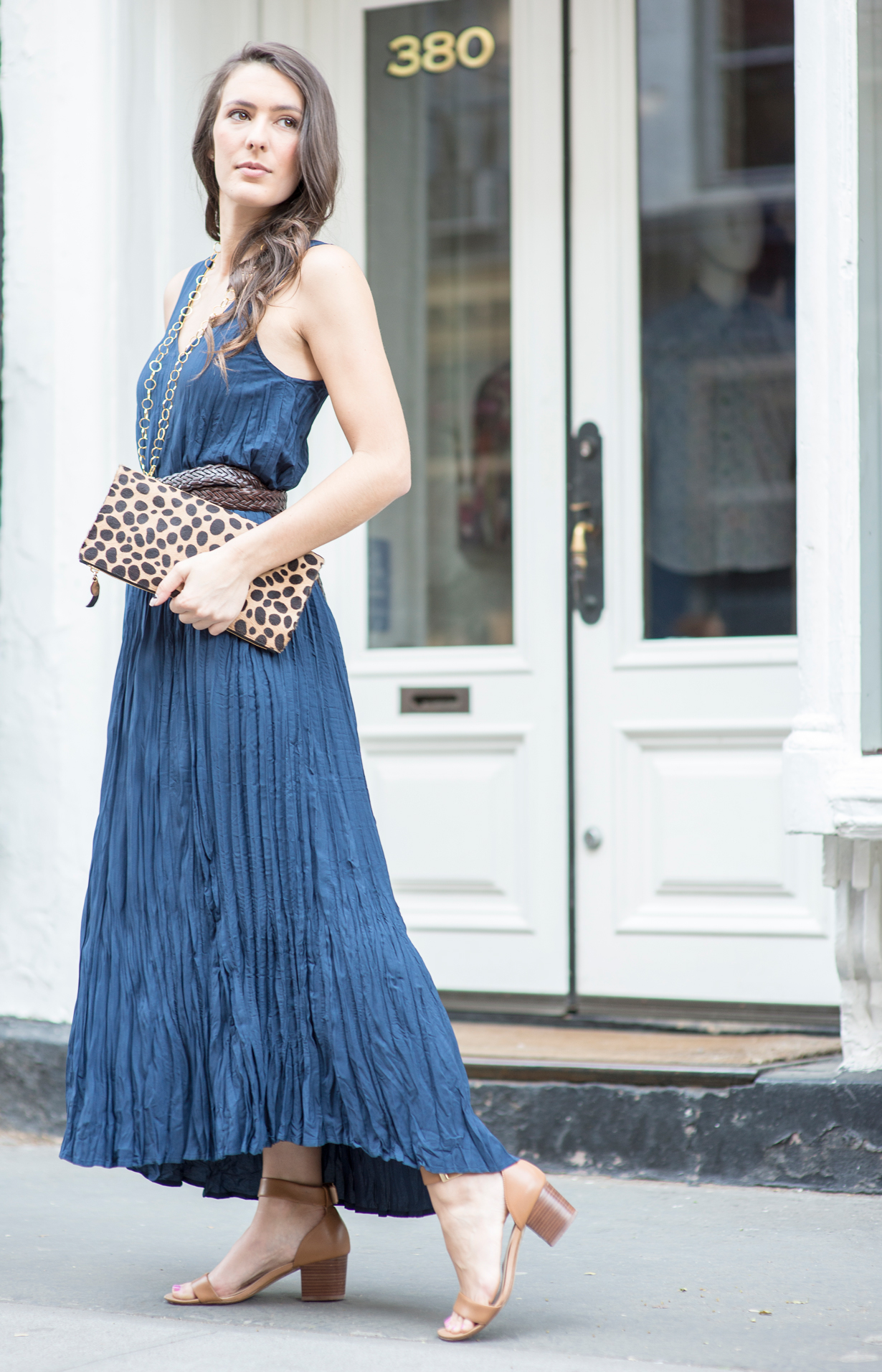 blue-pleated-maxi-dress-and-leopard-foldover-clutch