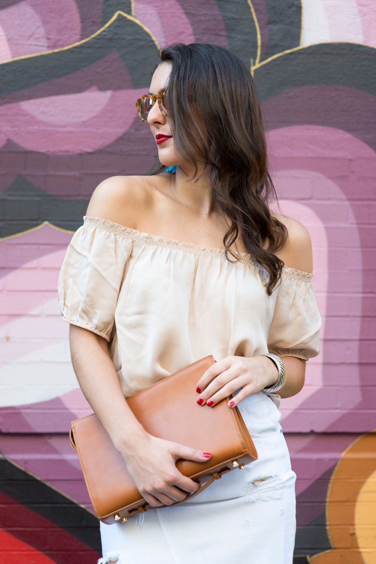 blush-off-the-shoulder-top-and-tan-clutch