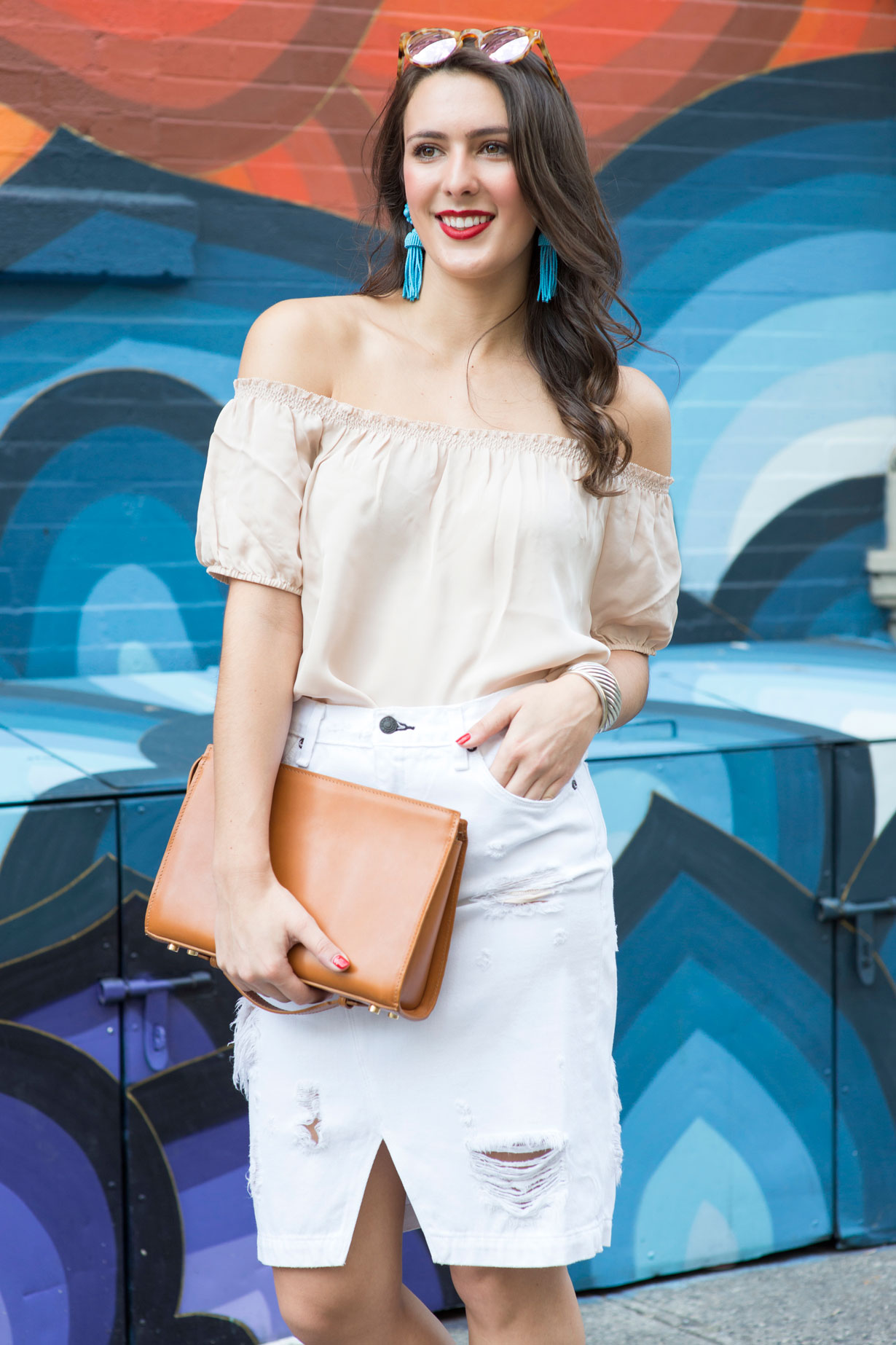 blush-off-the-shoulder-top-white-denim-skirt-lisi-lerch-tassel-earrings