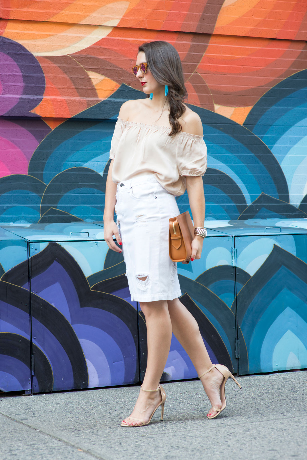 rainbow-wall-and-ripped-denim-pencil-skirt