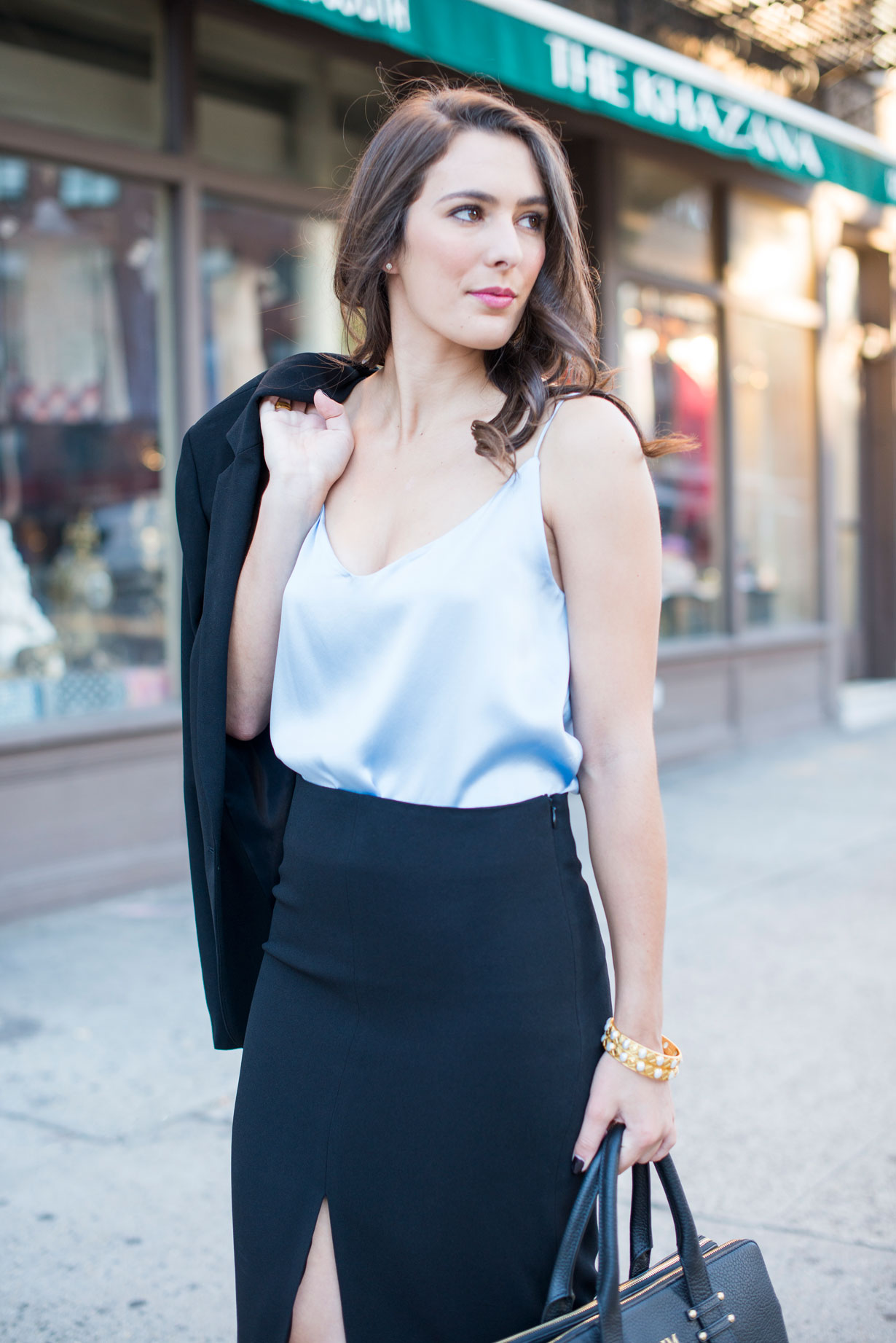 Landing-NYC-Silk-Cami-and-Crepe-Pencil-Skirt