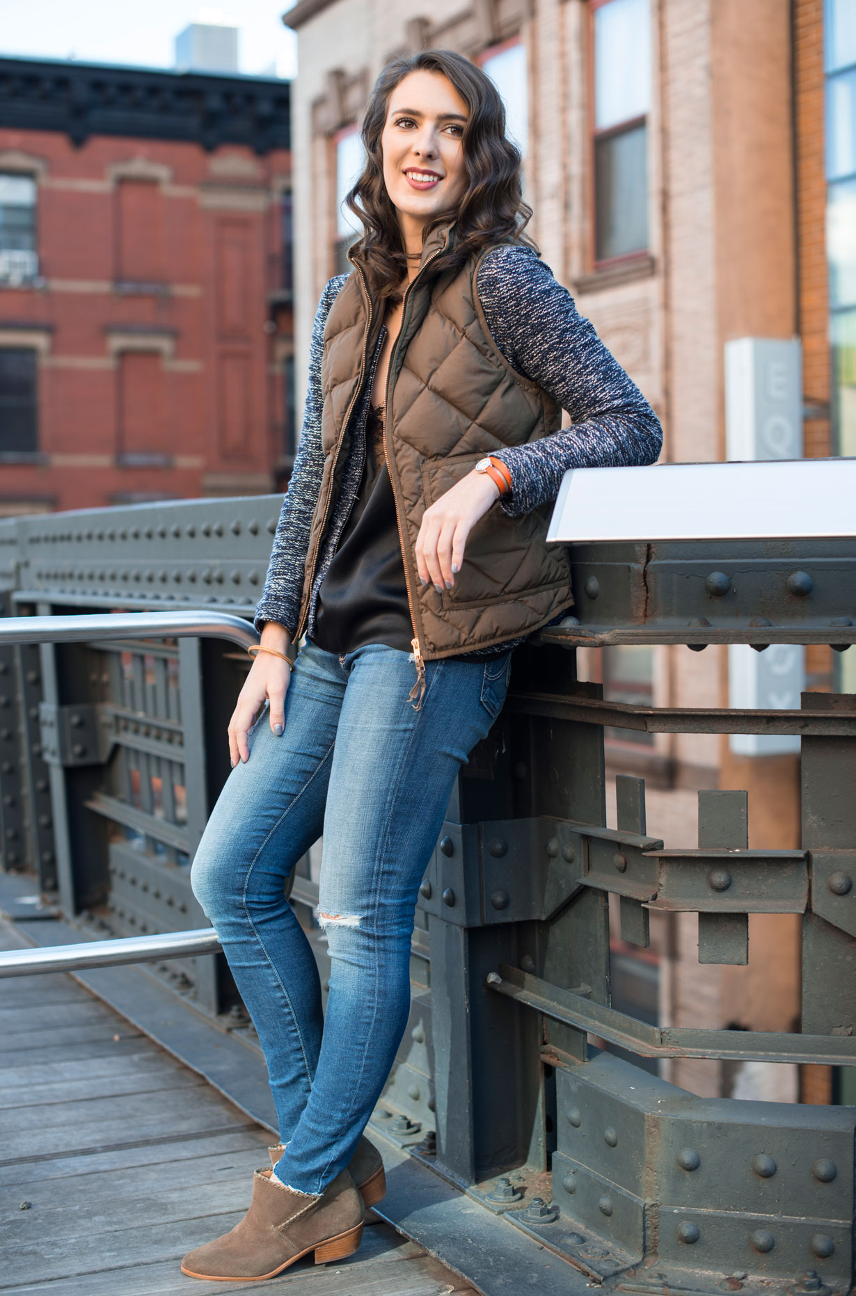 Landing-NYC-cami,-AG-jeans,-Jack-rogers-boots,-J.crew-vest