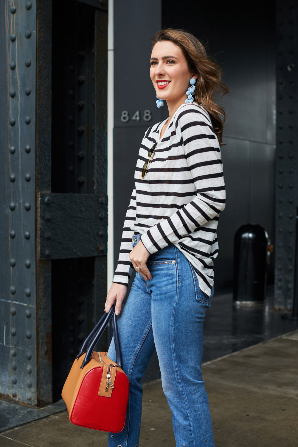 style blogger samantha metell wear bb dakota stupid blouse