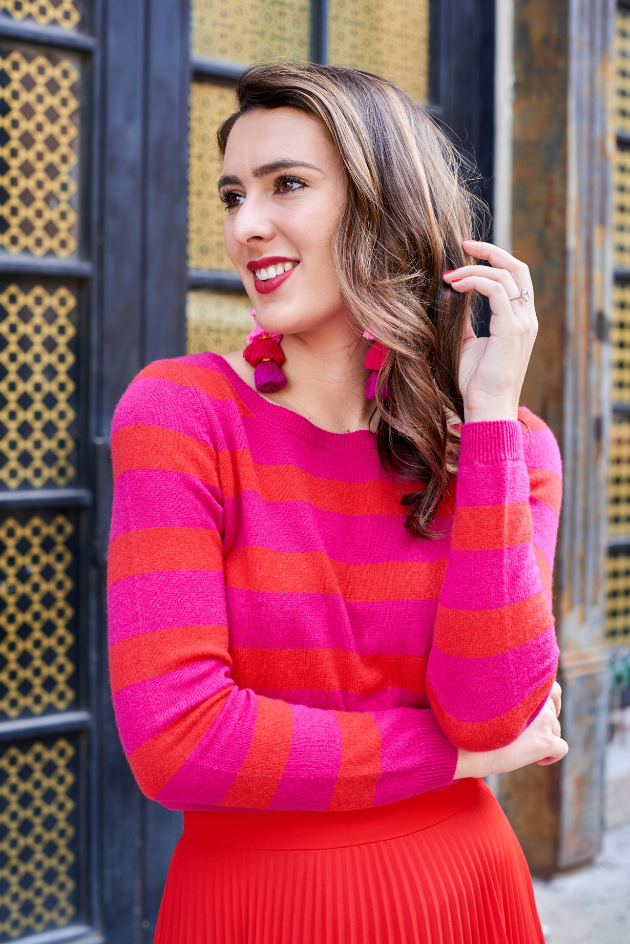 Samantha Metell of Bonjour Blue Personal Style Blog Personal Style Blog New York Wearing Pink and Red Outfit