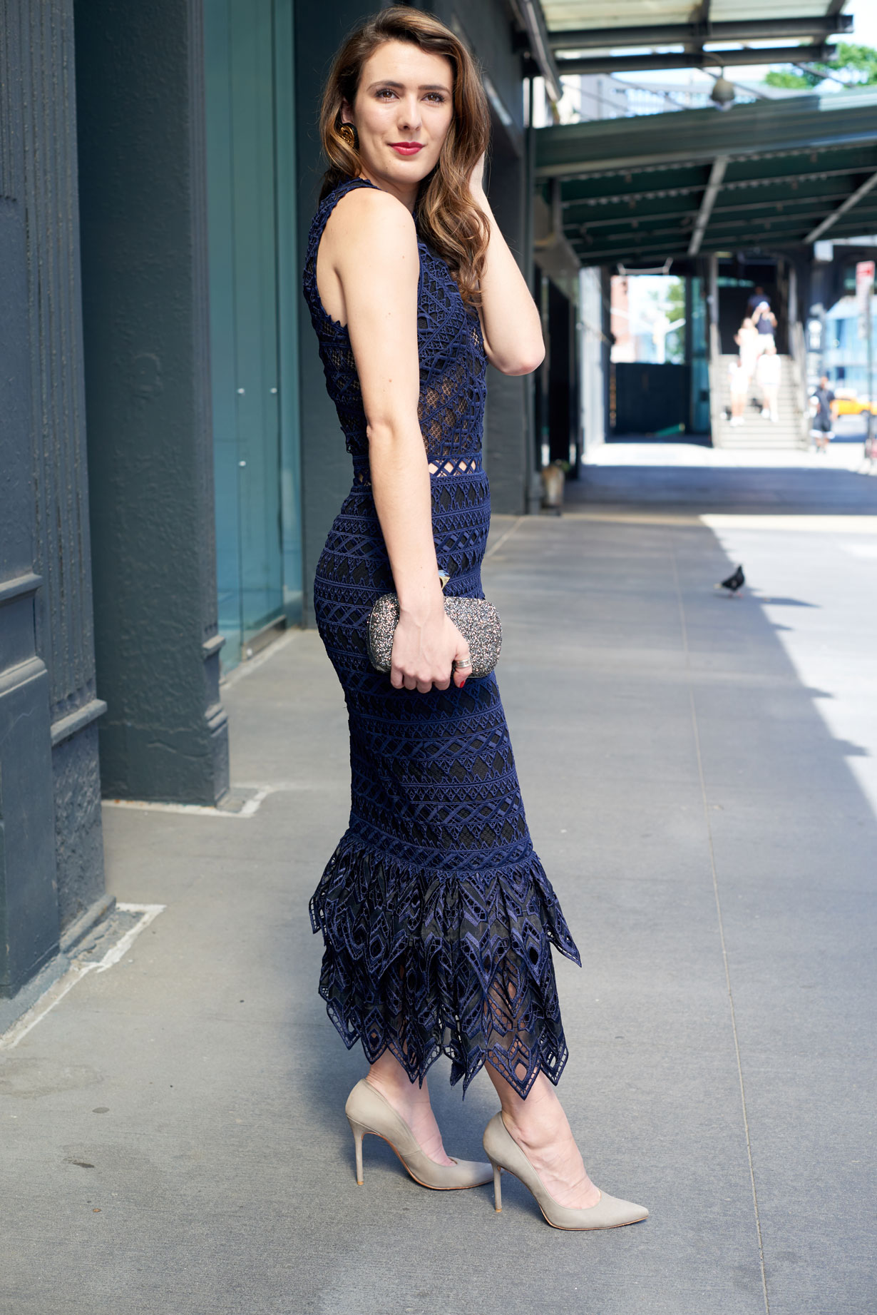 samantha metell of bonjour blue wearing Jonathan Simkhai and Stuart Weitzman
